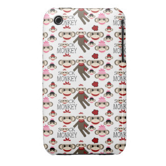 Cute Red and Pink Sock Monkeys Collage Pattern iPhone 3 Case