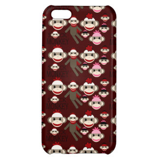 Cute Red and Pink Sock Monkeys Collage Pattern iPhone 5C Cases