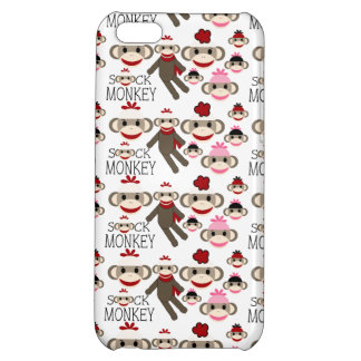 Cute Red and Pink Sock Monkeys Collage Pattern iPhone 5C Case