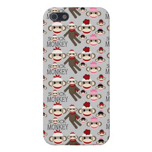 Cute Red and Pink Sock Monkeys Collage Pattern iPhone 5 Cases