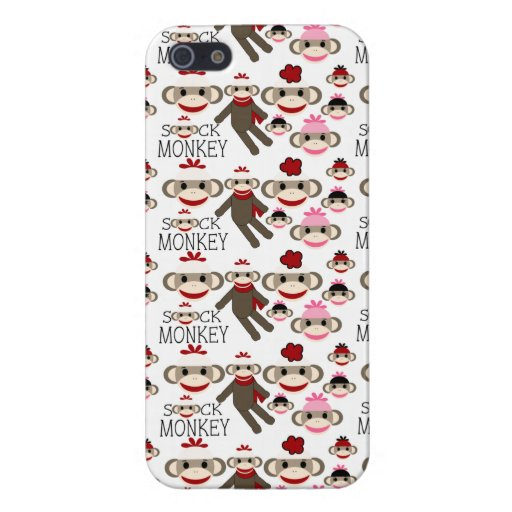 Cute Red and Pink Sock Monkeys Collage Pattern iPhone 5 Covers