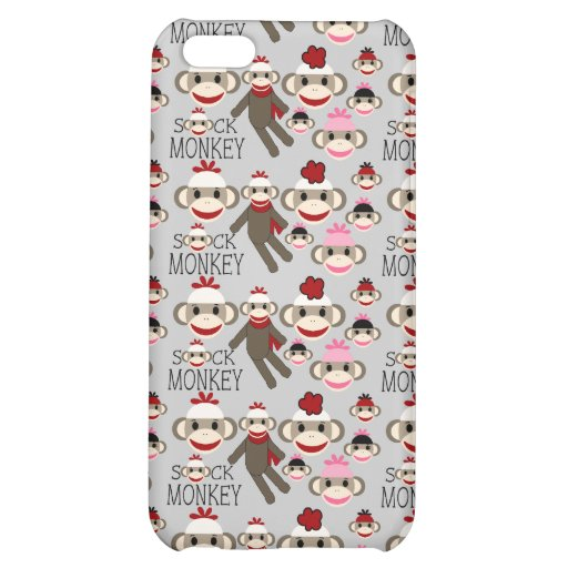 Cute Red and Pink Sock Monkeys Collage Pattern Case For iPhone 5C