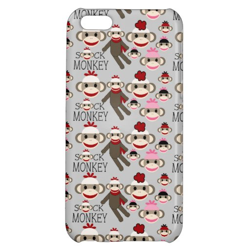Cute Red and Pink Sock Monkeys Collage Pattern Cover For iPhone 5C