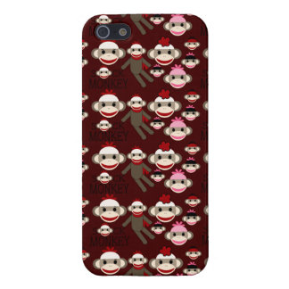 Cute Red and Pink Sock Monkeys Collage Pattern iPhone 5/5S Covers