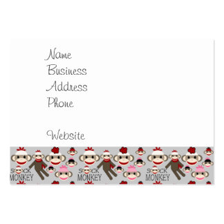 Cute Red and Pink Sock Monkeys Collage Pattern Large Business Card