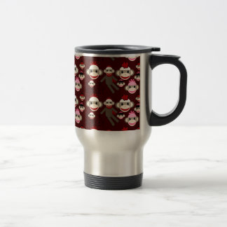 Cute Red and Pink Sock Monkeys Collage Pattern Coffee Mugs