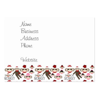 Cute Red and Pink Sock Monkeys Collage Pattern Pack Of Chubby Business Cards