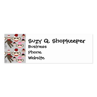Cute Red and Pink Sock Monkeys Collage Pattern Pack Of Skinny Business Cards