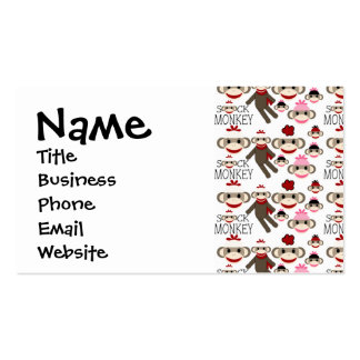 Cute Red and Pink Sock Monkeys Collage Pattern Pack Of Standard Business Cards