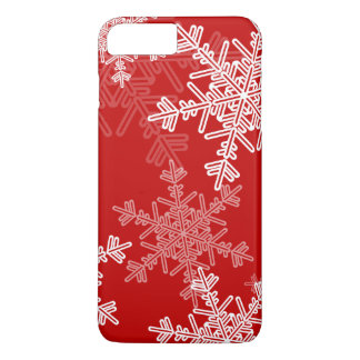 Cute red and white Christmas snowflakes iPhone 8 Plus/7 Plus Case
