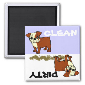 Cute Red and White Coat Bulldog Cartoon Magnet