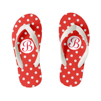 Cute Red and White Polka Dots Monogram Kid's Flip Flops