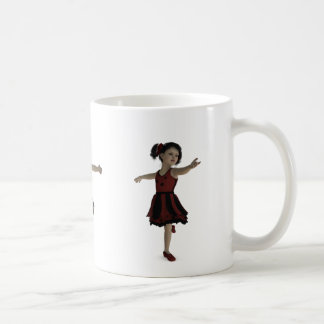 Cute Red Ballerina girl dancing across mug