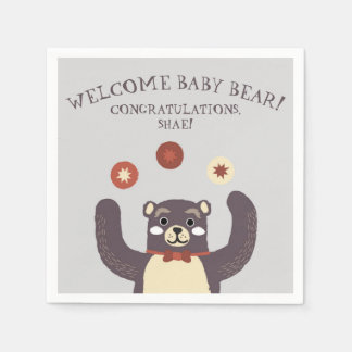 Cute Red Bear Hug Baby Shower Party Napkins Disposable Napkins