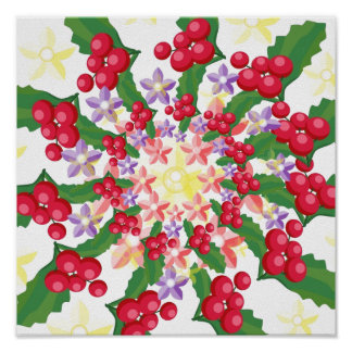 Cute Red Berry Garland Pattern Posters
