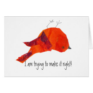 Cute Red Bird Forgive Me Card
