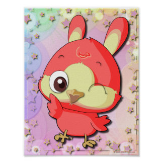 Cute Red Bird Funny Cartoon Character Poster