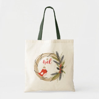Cute Red Bird on Christmas Wreath Tote Bag