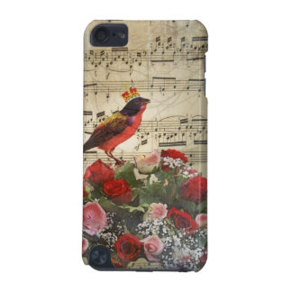 Cute red bird & vintage music sheet iPod touch 5G cover