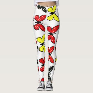Cute Red black and yellow Burtterflies  Leggings