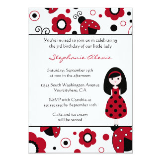Cute red black lady bugs birthday party invitation