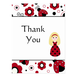 Cute red black lady bugs thank you postcard