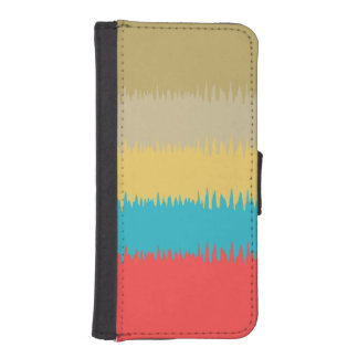 CUTE Red Blue Yellow Green Abstract Stripe Pattern iPhone SE/5/5s Wallet Case