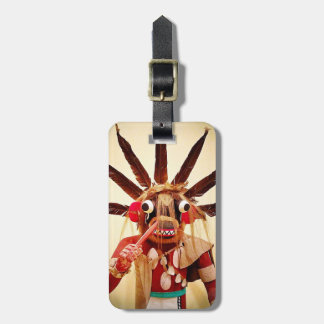 Cute, red, brown, silly, funny face, kachina photo luggage tag