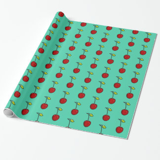 Cute Red Cherries Green Background Gift Wrap