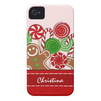 Cute red Christmas gingerbreads iPhone 4 Case