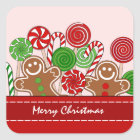 Cute red Christmas gingerbreads Square Sticker