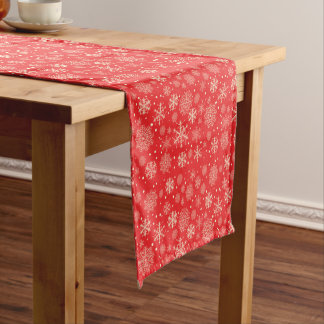 Cute red Christmas snowflakes - Xmas gifts Short Table Runner