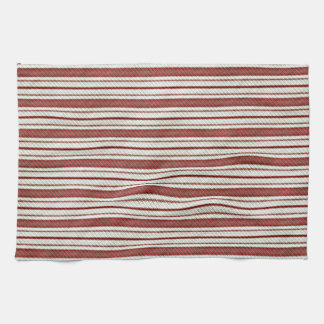 Cute Red Country Farmhouse Linen Stripes Pattern Hand Towels
