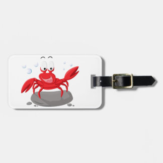 Cute red crab luggage tag