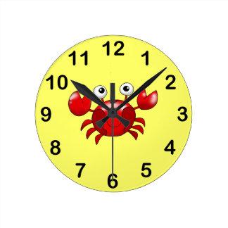 Cute red crab round clock