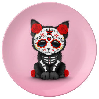 Cute Red Day of the Dead Kitten Cat, Pink Porcelain Plates