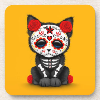 Cute Red Day of the Dead Kitten Cat, yellow Drink Coasters