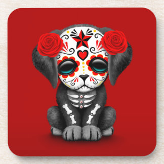 Cute Red Day of the Dead Puppy Dog Coaster