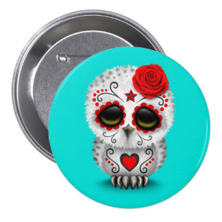 Cute Red Day of the Dead Sugar Skull Owl Blue 3 Inch Round Button