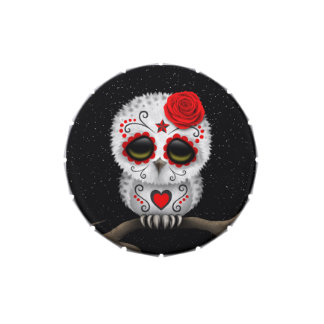 Cute Red Day of the Dead Sugar Skull Owl Stars