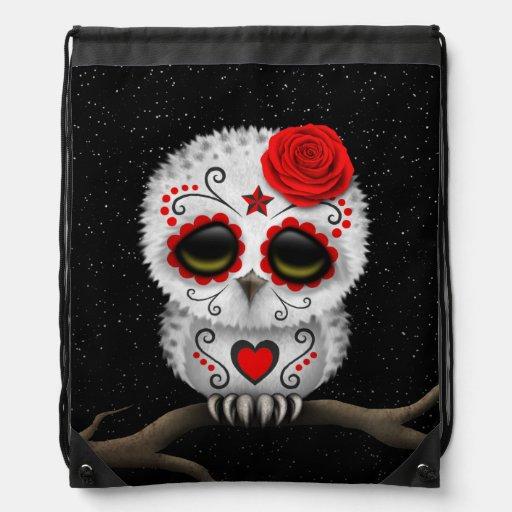 Cute Red Day of the Dead Sugar Skull Owl Stars Drawstring Bag