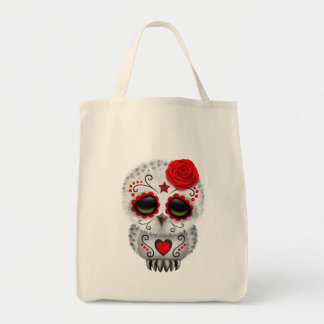 Cute Red Day of the Dead Sugar Skull Owl Tote Bags