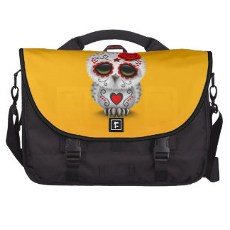 Cute Red Day of the Dead Sugar Skull Owl Yellow Bag For Laptop