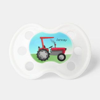 Cute Red Farm Tractor Pacifier