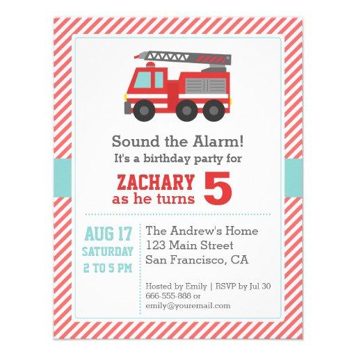 Cute Red Fire Truck Birthday Party Invitation Invitations