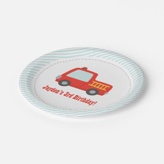 Cute Red Fire Truck Boys Birthday Party Supplies Paper Plate