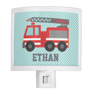 Cute Red Fire Truck for Boys Bedroom Night Lights