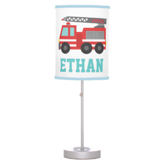 Cute Red Fire Truck for Boys Bedroom Table Lamp