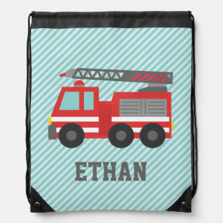 Cute Red Fire Truck for Boys, Name Cinch Bag