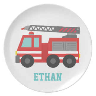 Cute Red Fire Truck for Little Boys Party Plate